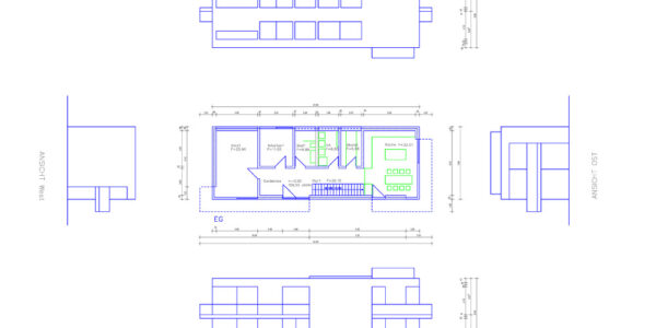 Grundriss und Ansichten Architektenhaus